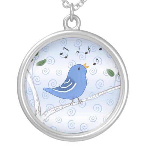 Cute Singing Blue Bird Necklace