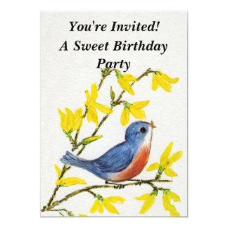Cute Singing Blue Bird Tree 5x7 Paper Invitation Card