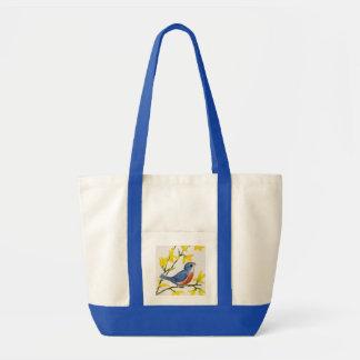Cute Singing Blue Bird Tree Tote Bags