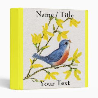 Cute Singing Blue Bird Tree Binder
