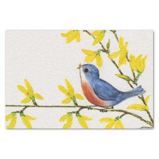 "Cute Singing Blue Bird Tree Branch 10"" X 15"" Tissue Paper"