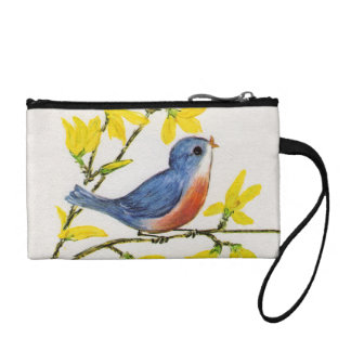 Cute Singing Blue Bird Tree Branch Change Purse