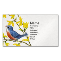 Cute Singing Blue Bird Tree Branch Business Card Magnet