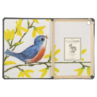 Cute Singing Blue Bird Tree Branch iPad Air Covers