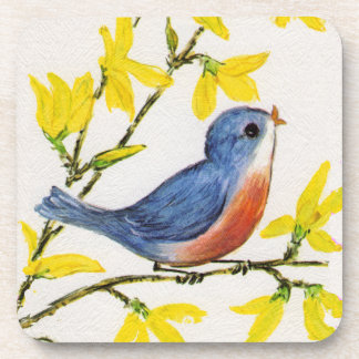 Cute Singing Blue Bird Tree Branch Coaster