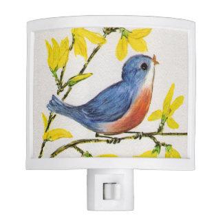 Cute Singing Blue Bird Tree Branch Night Lights