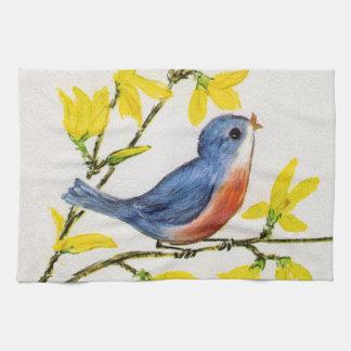 Cute Singing Blue Bird Tree Branch Hand Towel