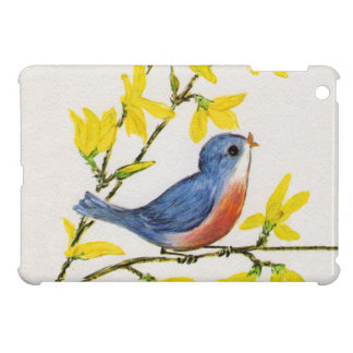 Cute Singing Blue Bird Tree Branch iPad Mini Case