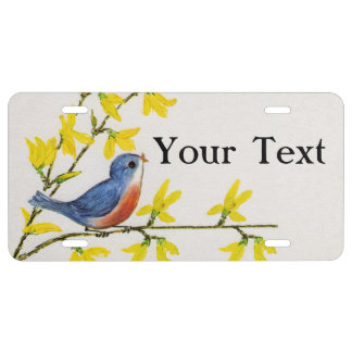 Cute Singing Blue Bird Tree Branch License Plate