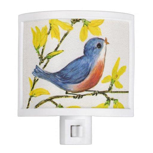 Cute singing blue bird tree branch night light zazzle - Birdhouse nightlight ...