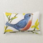Cute Singing Blue Bird Tree Branch Pillow