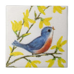 Cute Singing Blue Bird Tree Branch Small Square Tile