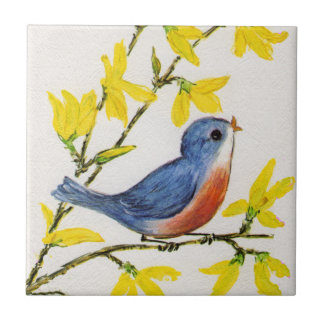 Cute Singing Blue Bird Tree Branch Tile