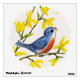 Cute Singing Blue Bird Tree Branch Wall Decal