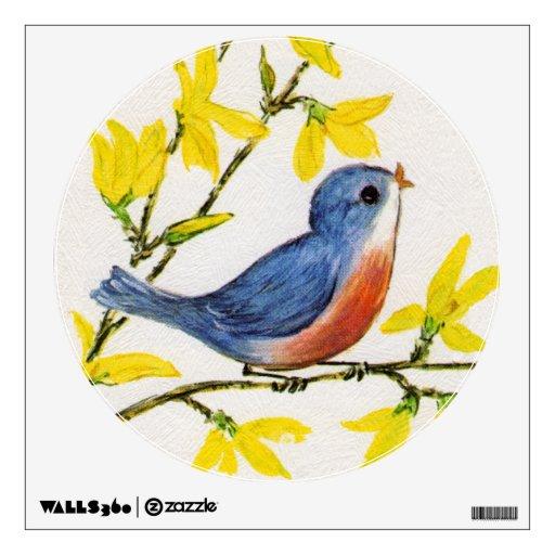 Cute Singing Blue Bird Tree Branch Wall Skin