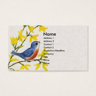 Cute Singing Blue Bird Tree Business Card