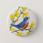 "Cute Singing Blue Bird Tree Button<br><div class=""desc"">This vintage illustration is a sweet little blue and red bird sitting on a branch with pretty yellow flowers and singing.  See my store Art by MAR for matching products with this design.</div>"