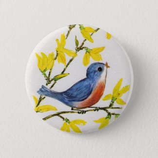 Cute Singing Blue Bird Tree Button