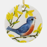 Cute Singing Blue Bird Tree Double-Sided Ceramic Round Christmas Ornament