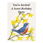 Cute Singing Blue Bird Tree Invitations