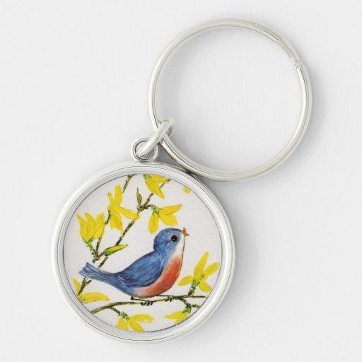 Cute Singing Blue Bird Tree Keychain