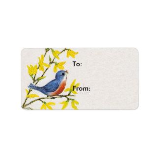 Cute Singing Blue Bird Tree Label