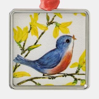 Cute Singing Blue Bird Tree Christmas Tree Ornaments