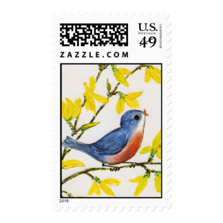 Cute Singing Blue Bird Tree Postage