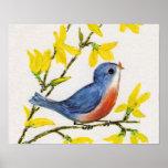 Cute Singing Blue Bird Tree Posters