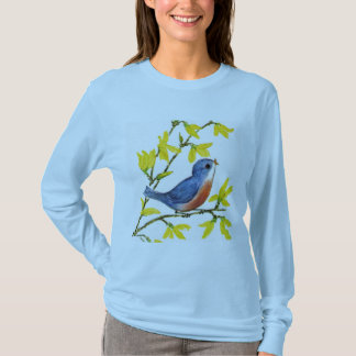 Cute Singing Blue Bird Tree T-Shirt