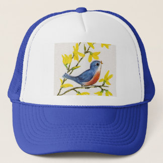 Cute Singing Blue Bird Tree Trucker Hat