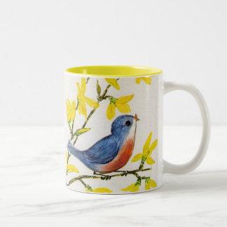 Cute Singing Blue Bird Tree Two-Tone Coffee Mug