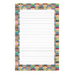 Cute Singing Choir Blue Lined Stationery