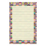 Cute Singing Choir Purple Lined Stationery
