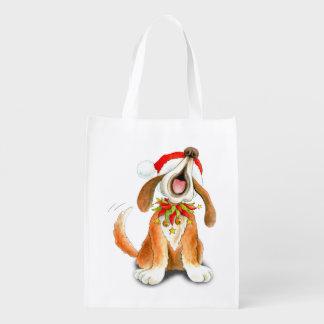Cute singing dog watercolor art Christmas bag Grocery Bag