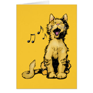 Cute singing orange cat drawing with musical notes
