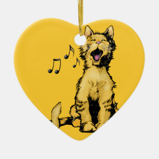 Cute singing orange cat drawing with musical notes ceramic ornament