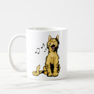 Cute singing orange cat drawing with musical notes coffee mug