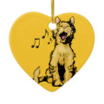 Cute singing orange cat drawing with musical notes Double-Sided heart ceramic christmas ornament