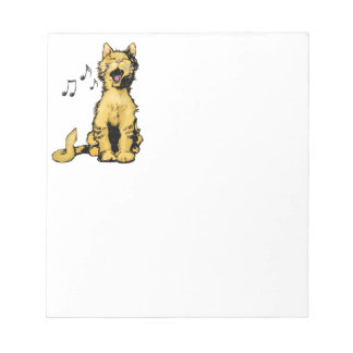 Cute singing orange cat drawing with musical notes note pad