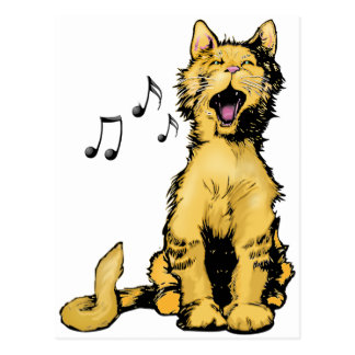 Cute singing orange cat drawing with musical notes postcard