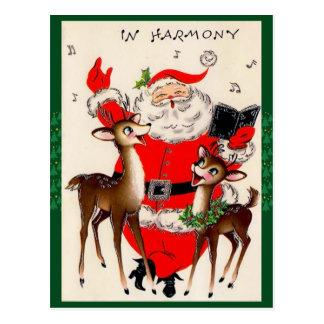 Cute Singing Santa Christmas Postcard