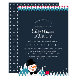 Cute Singing Snowman & Christmas Typography Party Card at Zazzle