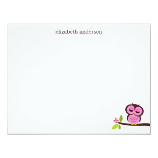 Cute Single Owl Custom Thank You Notes Personalized Announcements