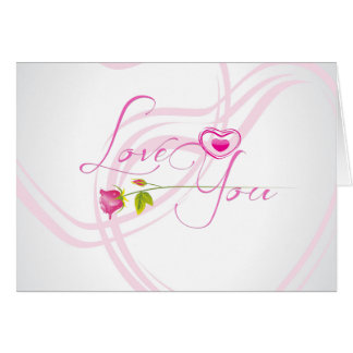 Cute Single Pink Rose And A Heart Love You Stationery Note Card