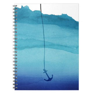 Cute Sinking Anchor in Sea Blue Watercolor Spiral Notebooks