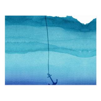 Cute Sinking Anchor in Sea Blue Watercolor Postcard