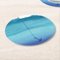 Cute Sinking Anchor in Sea Blue Watercolor Round Paper Coaster