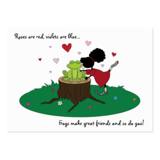 Cute Sister Kisses a Frog Valentines Card for Kids Large Business Cards (Pack Of 100)