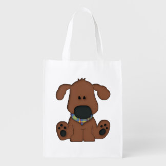 Cute sitting dog reusable grocery bag